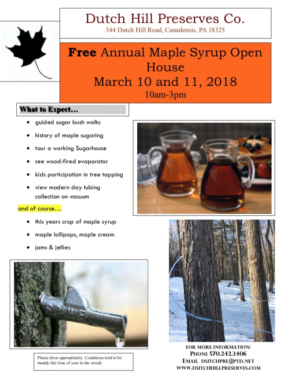 Free Annual Maple Syrup Open House (March 10 and 11, 2018)