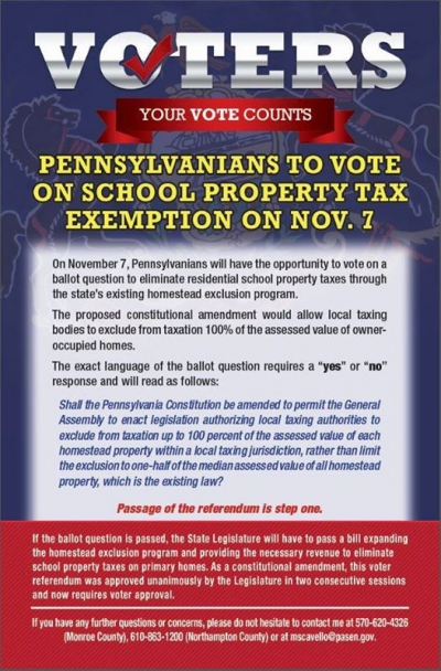 Pennsylvanians to Vote on School Property Tax Exemption on November 7, 2017