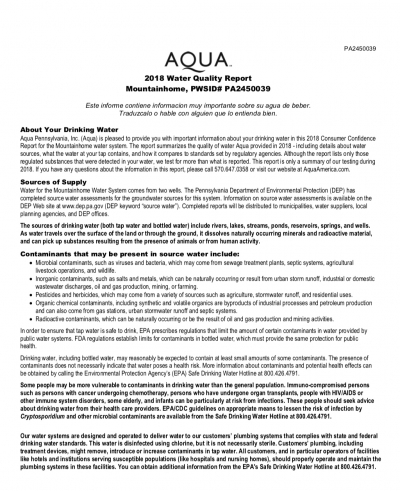 Mountainhome Drinking Water Quality Report 2018 - AQUA
