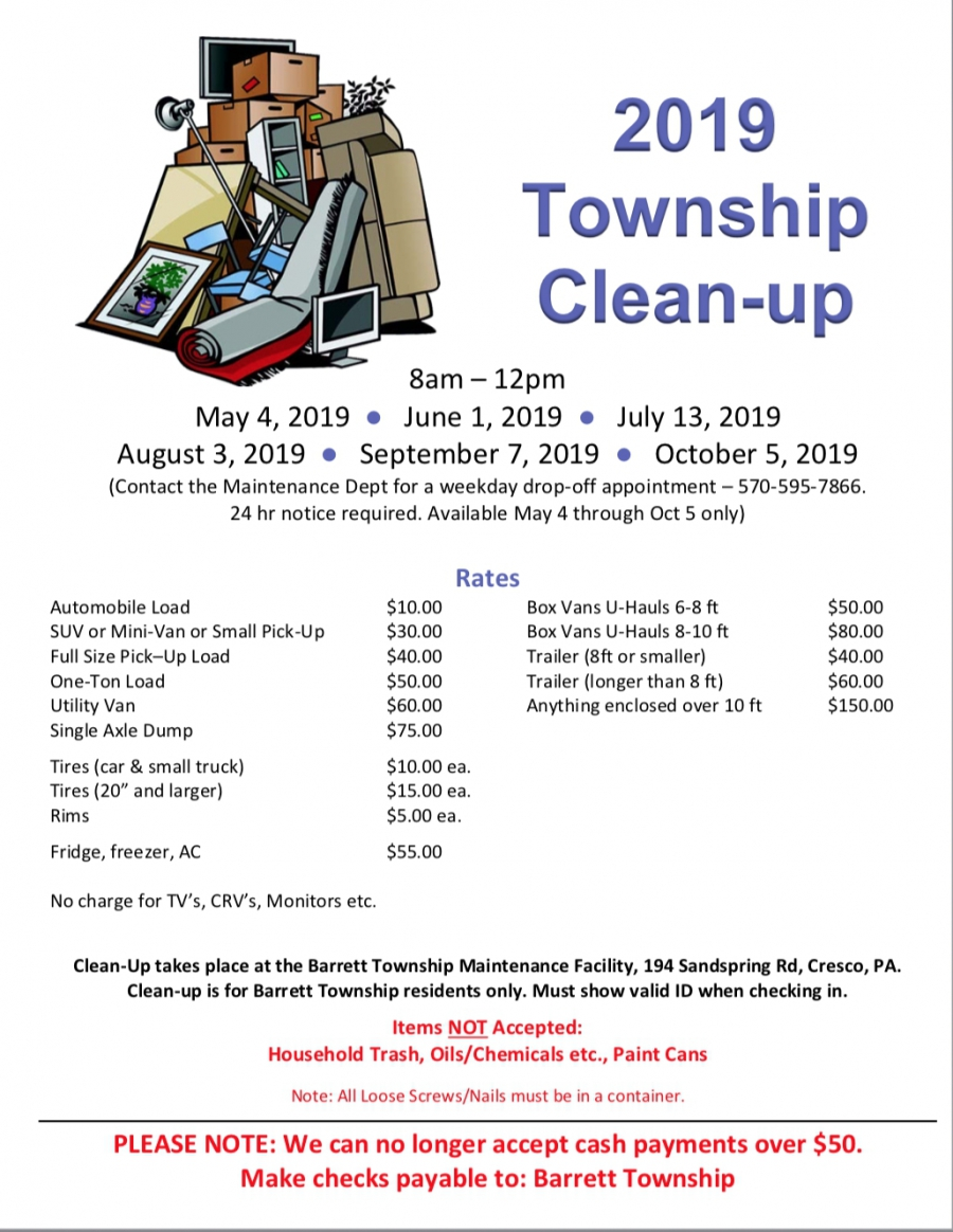 2019 Township Clean-up Schedule :: Barrett Township, PA