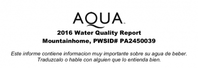 Aqua Mountainhome Water Quality Report (2016)