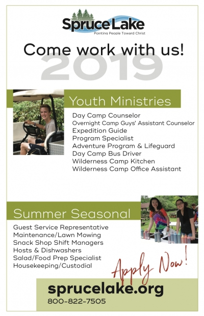 Spruce Lake: Hiring Youth Ministries, Summer / Seasonal