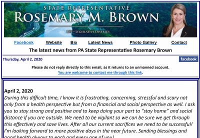 Rep. Brown Update: April 2, 2020