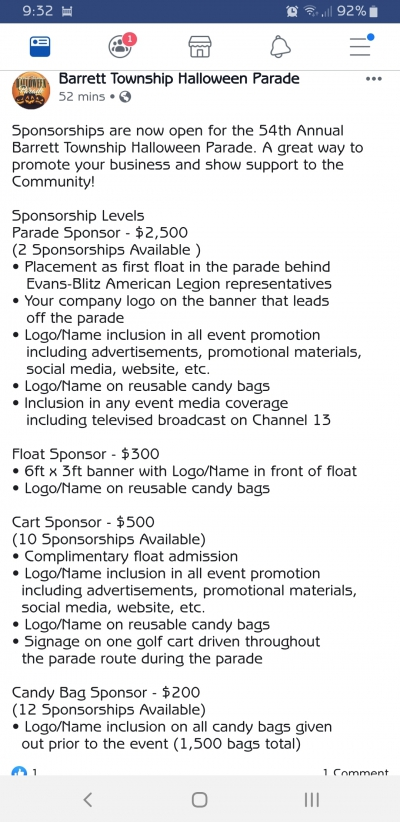 2019 Halloween Parade Sponsorship Information