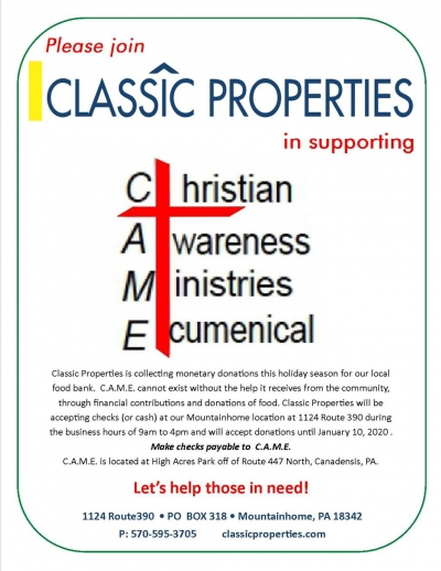 Please Join Classic Properties in supporting C.A.M.E.