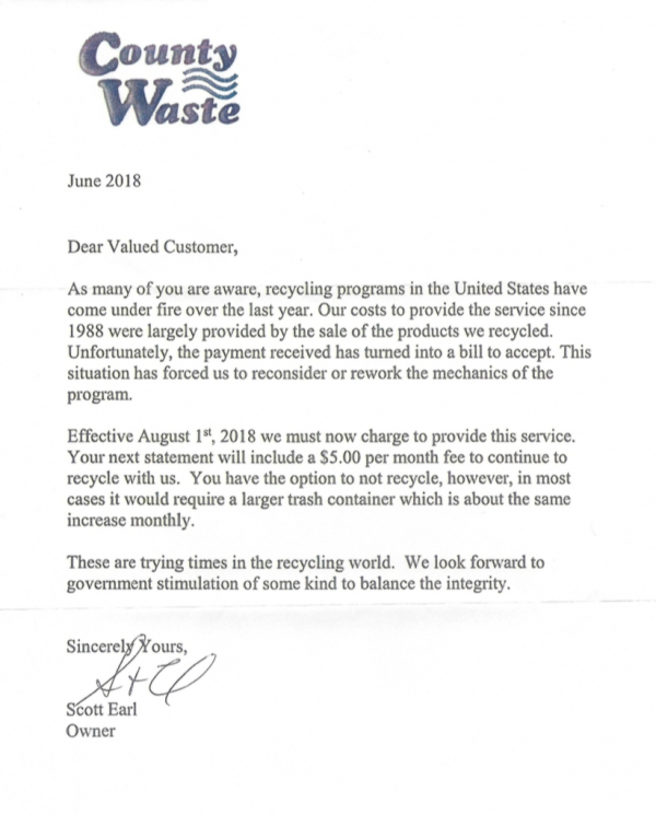 Letter from County Waste: Increase in Recycling Fees