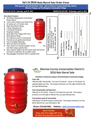 Monroe County Conservation District Rain Barrel Sale - April 23, 2016