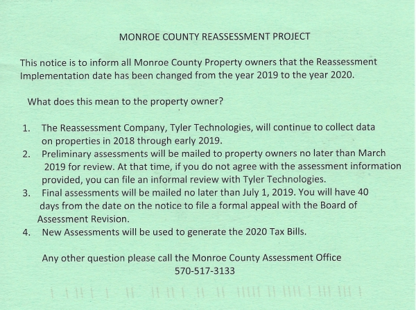 Monroe County Reassessment: DELAYED (!?)