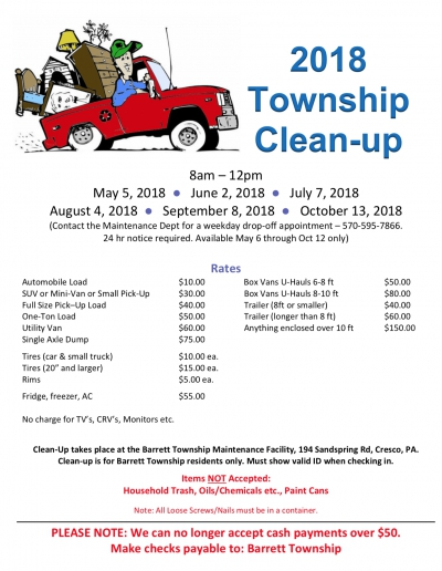 2018 Township Cleanup Schedule